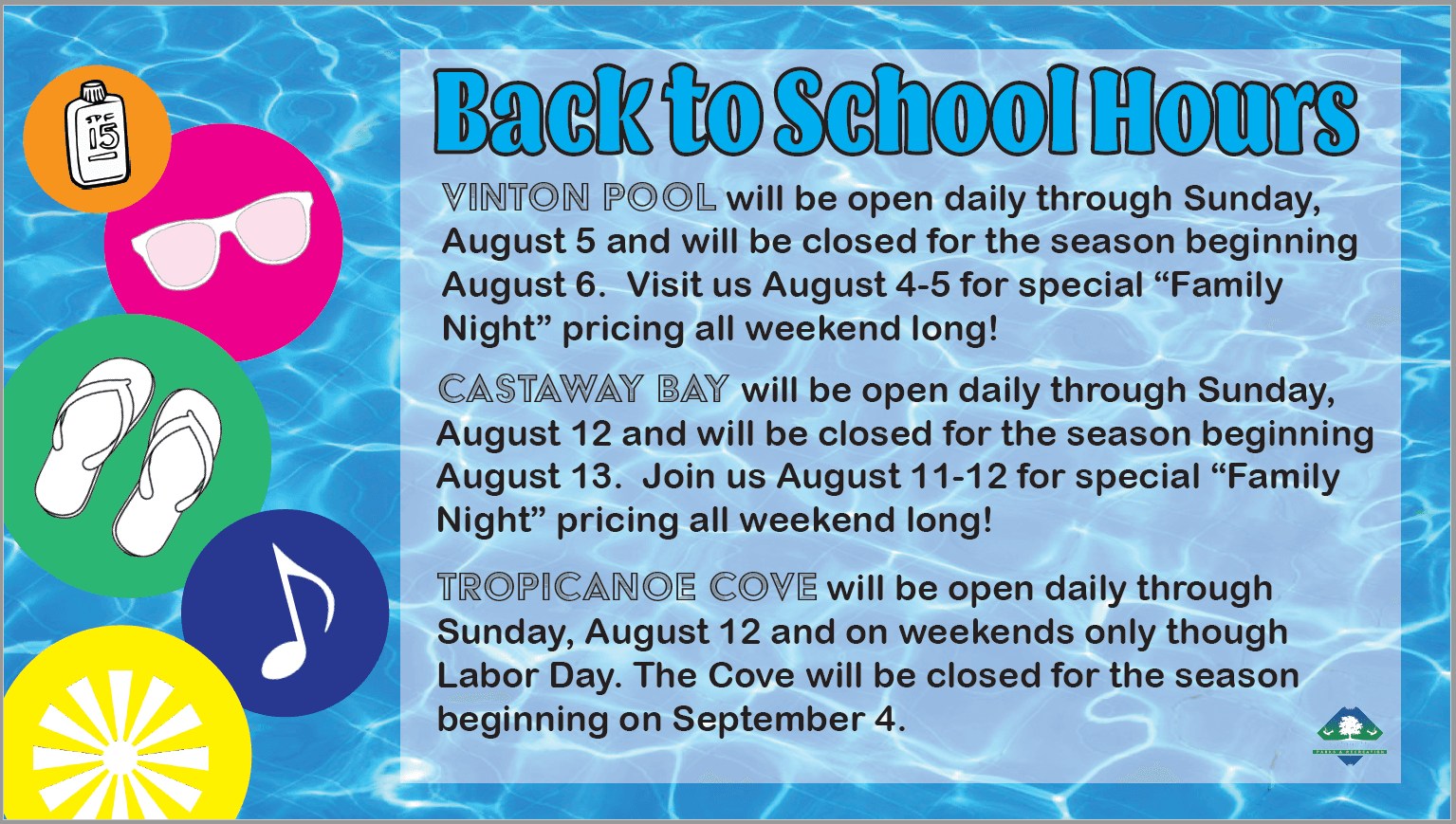 Back to School Hours 2018