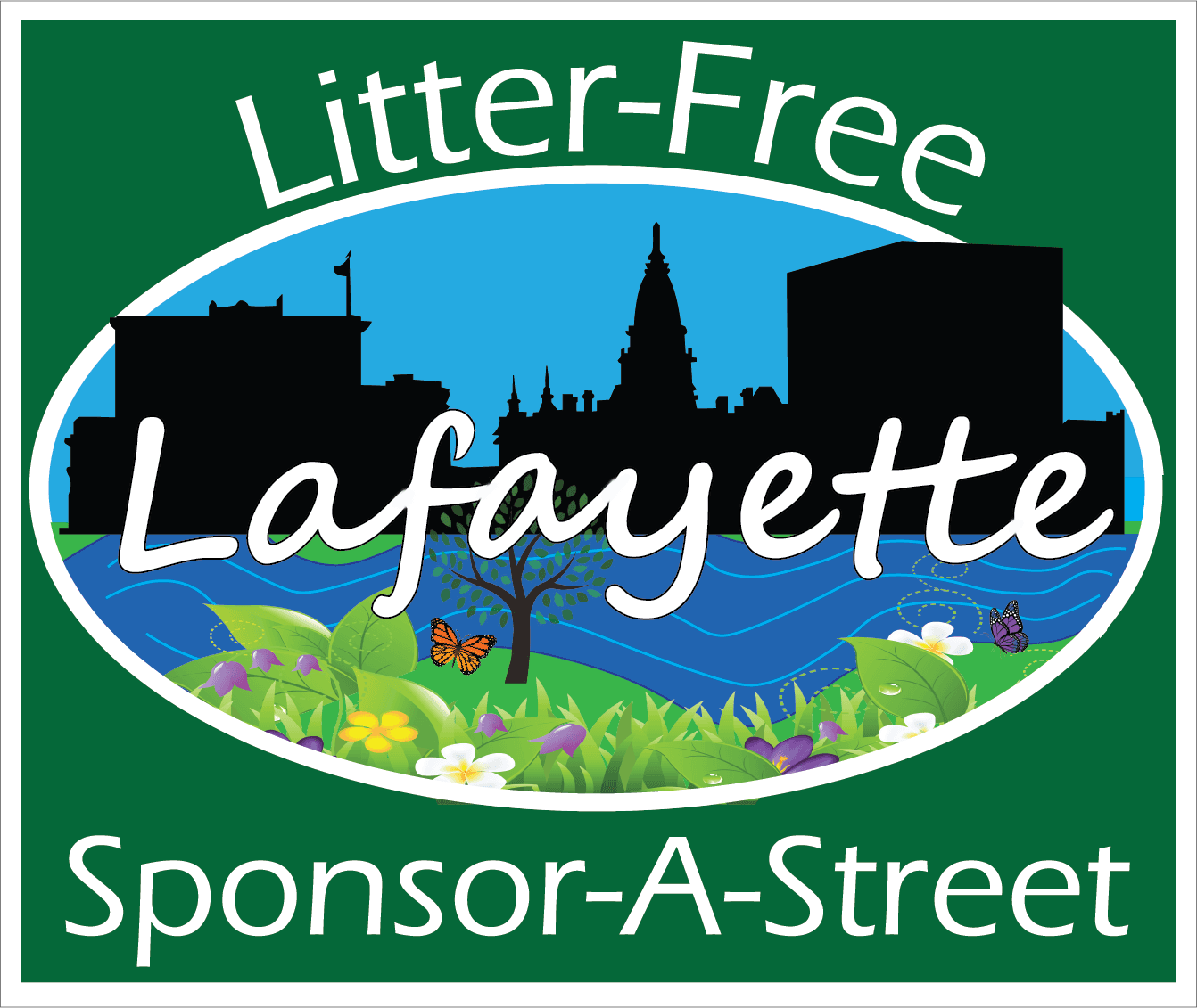 Litter Free Lafayette Sponsor-A-Street sign - Eras Medium ITC
